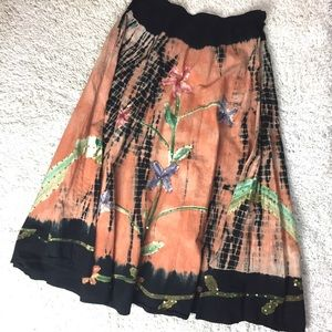 Forbidden Floral Tie Dyed flows 100% cotton skirt